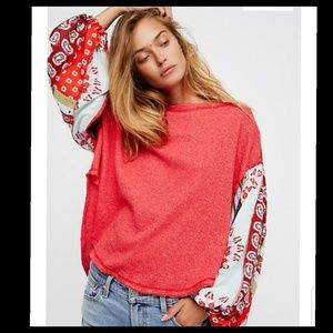 FREE PEOPLE BLOSSOM CHERRY RED THERMAL TOP